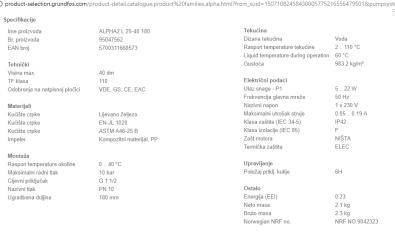 Specifikacije - Pumpa Grundfos Alpha2