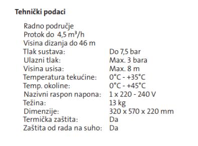 Specifikacije Grundfos MQ