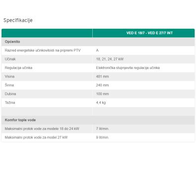 Specifikacije - Vaillant električni protočni bojler VED E INT 27 kW