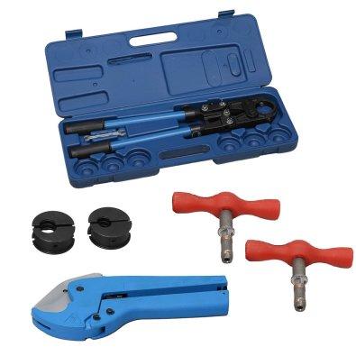 Alat za prešanje cijevi, set se sastoji od press kliješta, škare, čeljusti i razvrtači