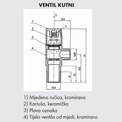 "Kutni ventil 1/2""-3/8"""