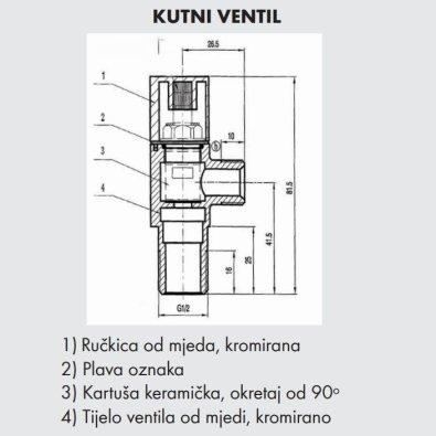 "Kutni ventil 1/2"" 3/8"""