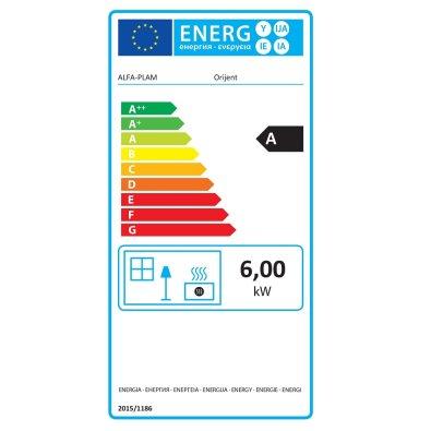 Energetska oznaka - Kamin Alfa Orijent Alfa Plam