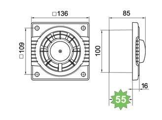 Kupaonski ventilator Colibri V100 - mjere, dimenzije