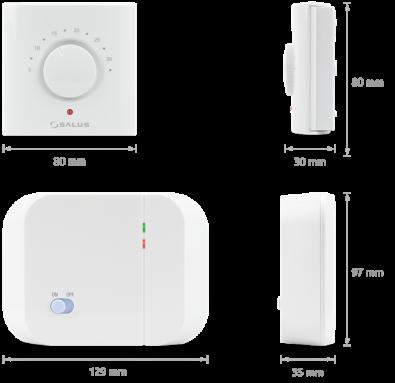 Salus bežični zidni termostat - dimenzije