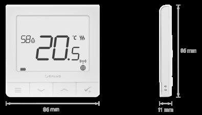 Salus wireless pametni termostat QuantumSalus wireless pametni termostat Quantum - dimenzije
